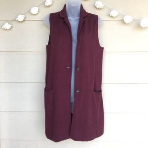 Talbots • Maroon Long Sleeveless Cardigan Vest